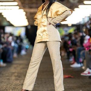 Gold tweed pant set